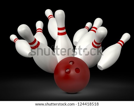 Red bowling ball crashes into the bowling pins with red stripes on black background. - stock photo