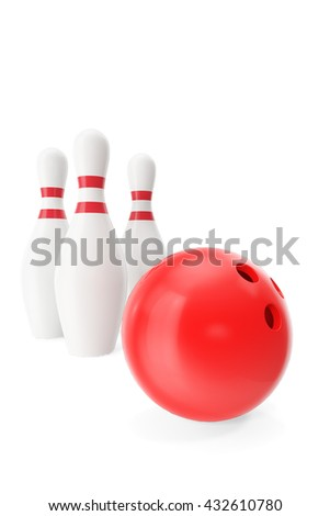 Red bowling ball in the foreground isolated on white. 3d illustration - stock photo