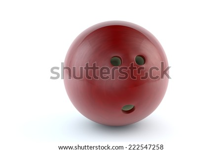 Red bowling ball isolated on white background/Red Bowling Ball - stock photo