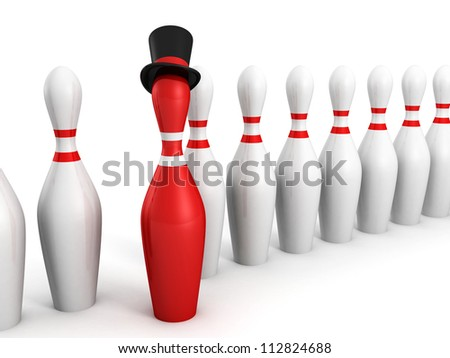 Red bowling pin leader in boss hat on white background - stock photo