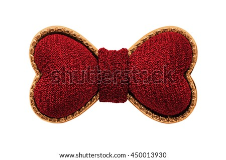 Red bowtie in the shape of two hearts isolated on white - stock photo