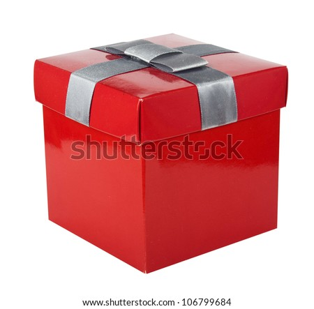 Red box and ribbon on white backgrounds - stock photo