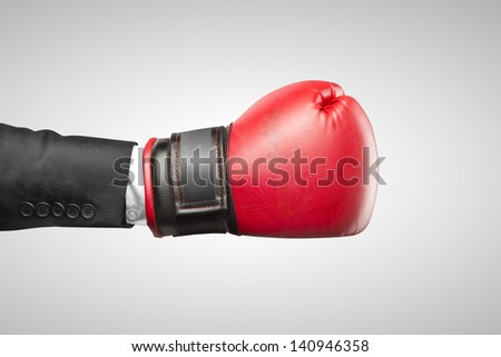 red box glove on hand businessman - stock photo