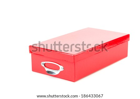 Red box isolated white background