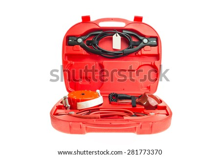Red box of emergency set for car isolated on white background - stock photo