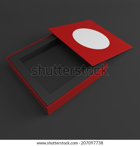 Red box opened. 3d render illustration
