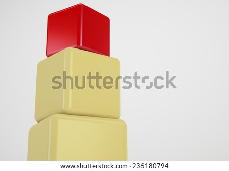 red box showing leader, 3d cubes stack concept - stock photo