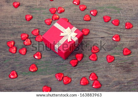 red box with a gift on Valentine's Day