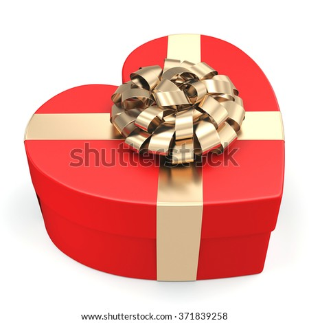 Red box with heart shaped gold ribbon - stock photo