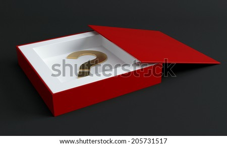 Red box with question mark. 3d render illustration