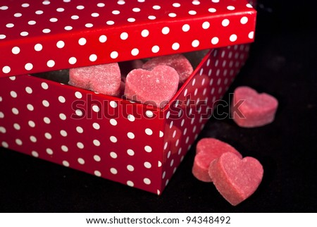 Red box with red hearts for S. Valentino