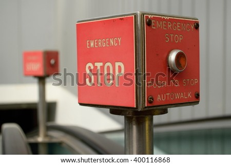 Red box with stop button  - stock photo