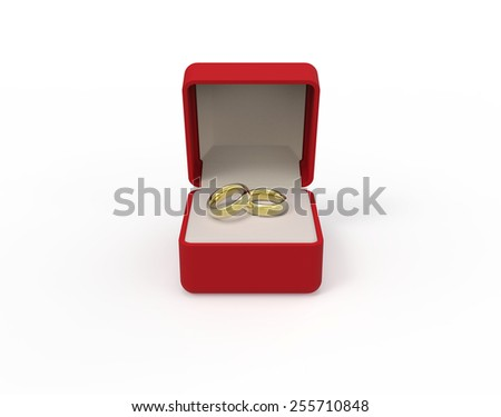 Red box with two engagement gold rings on a white background 3d