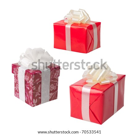 Red boxes for presents on a white background