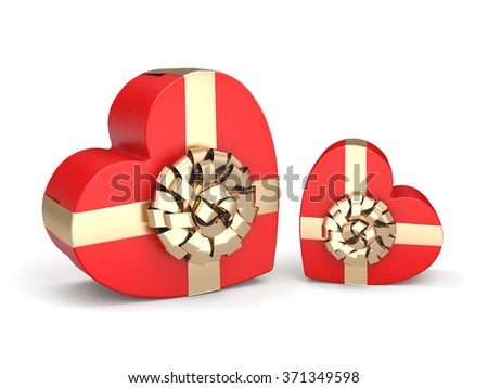 Red boxes with heart shaped gold ribbon - stock photo