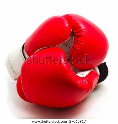 red boxing gloves as Yin Yang symbol isolated on white