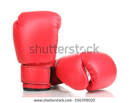 Red boxing gloves isolated on white - stock photo