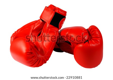 Red boxing-gloves on a white background