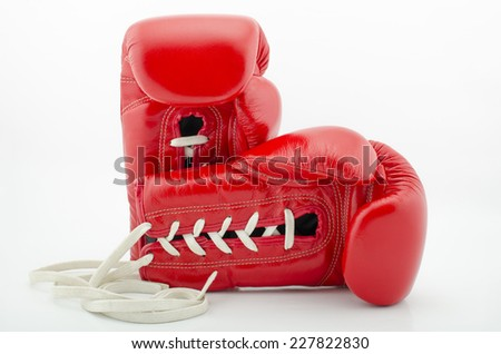 red boxing gloves on white background, isolated - stock photo