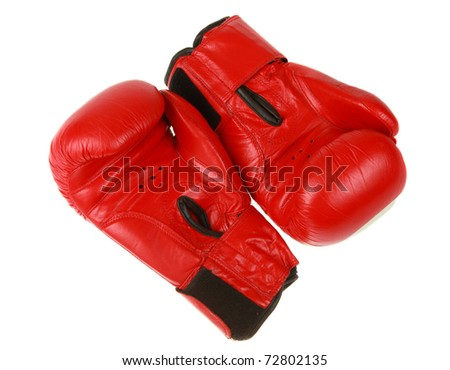 red boxing gloves on white background, isolated