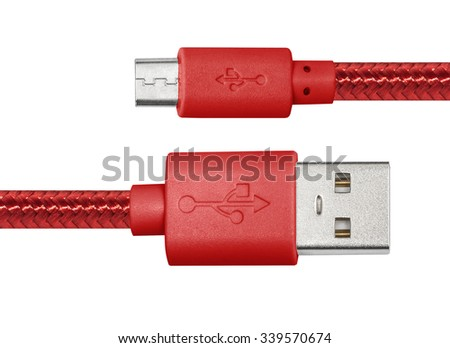 Red braided wire usb to miniusb cable isolated on white - stock photo