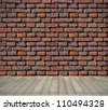 red brick grunge wall and wooden floor - stock photo