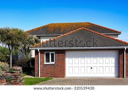 Red brick house - stock photo