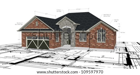 Red Brick House Plans - stock photo