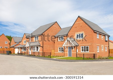 Red brick housing estate view
