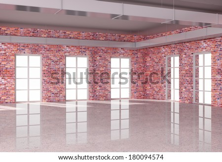 red brick loft interior  with window - stock photo