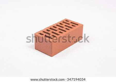 Red brick on a white background
