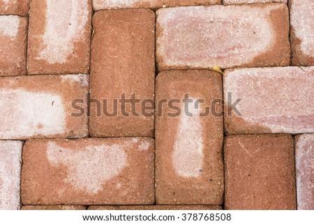 Red brick paving stones on a sidewalk. wet pavement - stock photo
