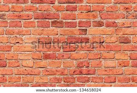 Red Brick seamless wall - stock photo
