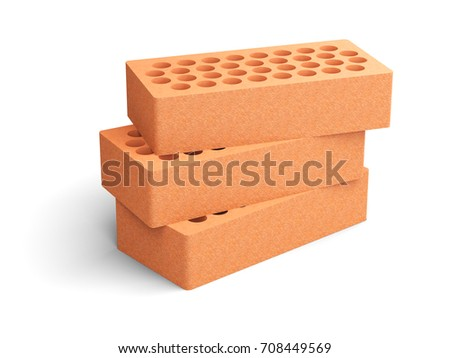 Red Brick Set With A Round Holes Isolated On White Background 3d Illustration