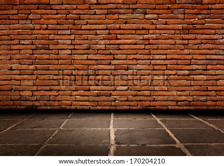 Red brick Structure of the walls and cement  flooring. - stock photo