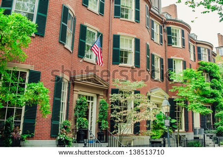 Red-Brick Town Houses - stock photo