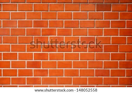Red brick wall. - stock photo