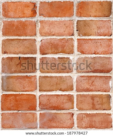 Red brick wall section, use as stand alone image or perfectly repeating tile background.