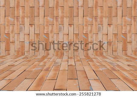Red brick wall texture background. - stock photo