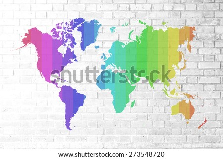 Mercator world map america centered stock illustration 16124392 red brick wall texture background soft tone white color with colorful world map outline elements gumiabroncs Image collections