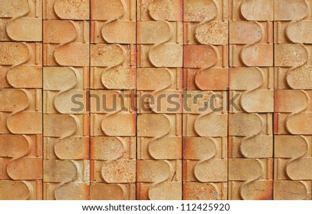 Red brick walls with a pattern and put together - stock photo