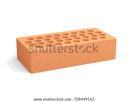 Red Brick With A Round Holes Isolated On White Background 3d Illustration