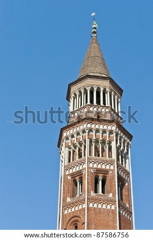 Red bricked Arcivescovile tower at Milan, Italy
