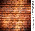 Red Bricked Wall Background, Texture - stock photo