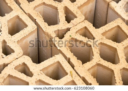 Red bricks material for building construction