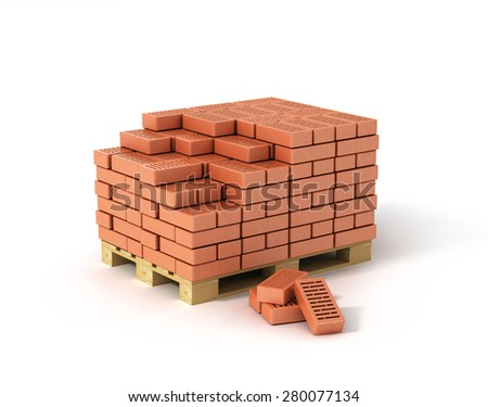 Red bricks stacked on wooden pallet isolated on white background. - stock photo