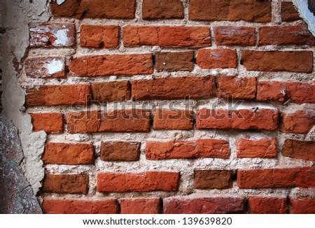 red bricks texture, grunge background - stock photo
