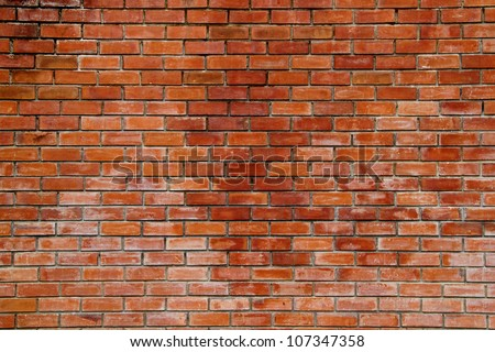 Red bricks wall background. - stock photo