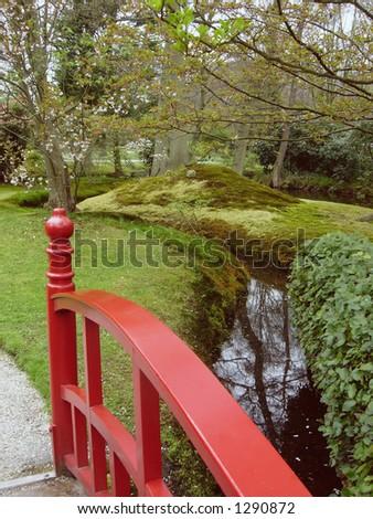 red bridge - stock photo