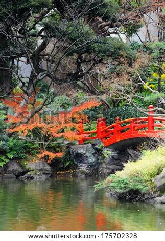 red bridge in japanese garden - Red Japanese Garden Bridge